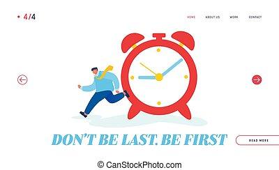 kierownictwo, ratunek, alarm, planowanie, wektor, rysunek, planowanie, płaski, website, wyścigi, banner., zegar, biznesmen, praca, czas, ogromny, lądowanie, ostateczny termin, strona, sieć, gwałt, ilustracja, work., page.