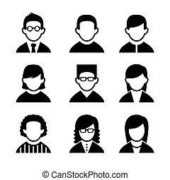 kierownicy, ikony, programiści, set., wektor, użytkownik
