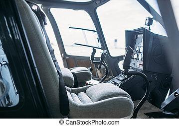 kierująca poduszeczka, wnętrze, helikopter, kabina, widok budynku
