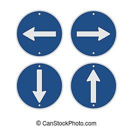 kierunek, droga znaczą, -, ikona