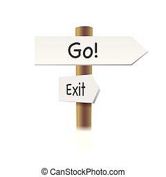 kierunek, drogowe oznakowanie, -, iść, i, wyjście, -, strzały, na białym, tło, ., wektor, illustration.