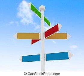 kierunek, drogowe oznakowanie, na, błękitne niebo