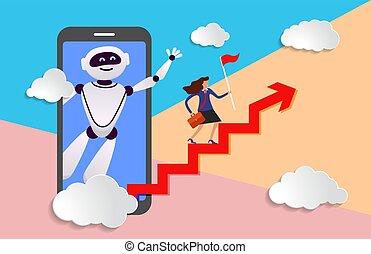 kierunek, głowa, prompts, asystent, handlowy, ruch, robot, ...