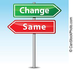 kierunek, wektor, zmiana, tak samo, znak