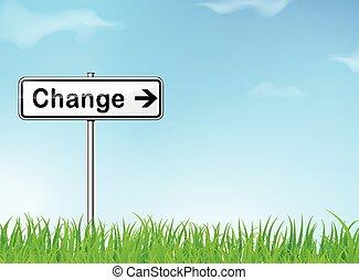 kierunek, zmiana, znak