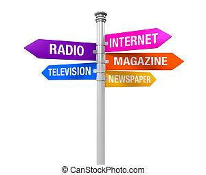 kierunki, media, znak, informacja
