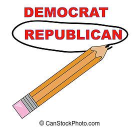 kies, republikein, op, democraat