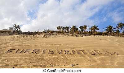 kieselsteine, fuerteventura, geschrieben, sandstrand