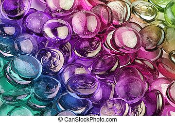 kieselsteine, glas, nahaufnahme, zusammensetzung, mehrfarbig