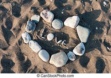 kieselsteine, herz, sandstrand, liebe
