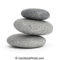 kieselsteine, steine, gestapelt, andere, aus, drei, eins, 3, hintergrund, jedes, weißes, an