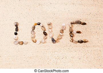 kieselsteine, wort, geschrieben, sand, liebe, sandstrand