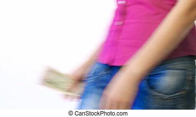 kieszeń, dolary, kobieta, jej