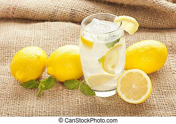 kieszel, zöld, limonádé, szerves, friss