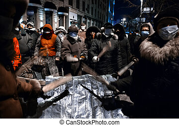 kiev, 우크라이나, -, 일월, 20, 2014:, 질량, anti-government, protests, 에서, 그만큼, 센터, 의, 그만큼, ukrainian, 수도, kiev., 사람, 통하고 있는, hrushevskoho, 가., 대비하는 것, 에, 폭풍우, 얼마 만큼, 정부, 군대