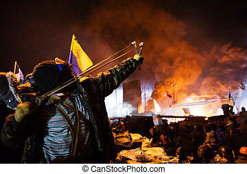 kiev, 우크라이나, -, 일월, 24, 2014:, 질량, anti-government, protests