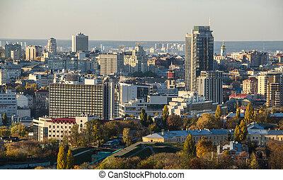 Kiev city business view, panorama Kiev, Ukraine