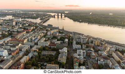 Kiev city center aerial sightseeing. Central part of the Ukrainian capital