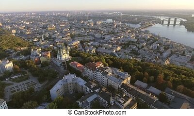 Kiev city center aerial sightseeing. Central part of the Ukrainian