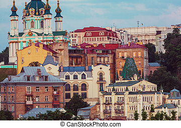 Kiev city. Old town. Ukraine. Beautiful view of the ancient...
