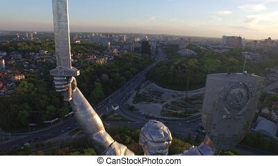 Kiev City - the capital of Ukraine. Mother Motherland. Aerial view.