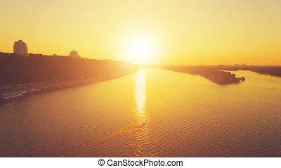 Kiev cityscape at sunset. 4k, 30 fps - Aerial Drone Flight...