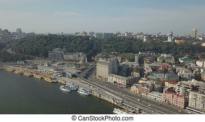 Kiev Embankment on the Dnieper. Aerial - Quay of the city of...
