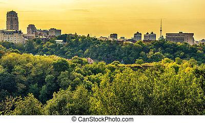 Kiev or Kiyv, Ukraine: aerial panoramic view of the city center
