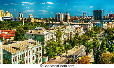 Kiev or Kiyv, Ukraine: aerial panoramic view of the city center