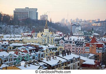 Kiev panorama - Modern buildings of Kiev city. Winter....