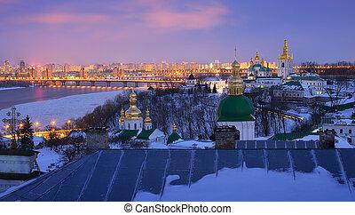 Kiev-Pechersk Lavra - Night cityscape. View of the...