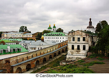 Kiev-Pechersk Lavra - View of the monastery wall and ancient...