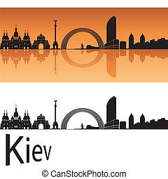 Kiev skyline in orange background in editable vector file