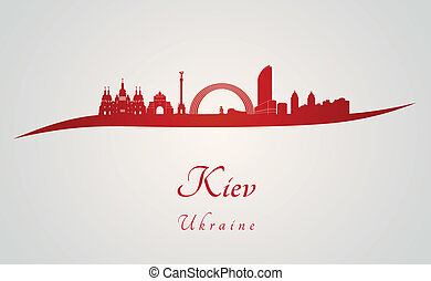 Kiev skyline in red and gray background in editable vector file