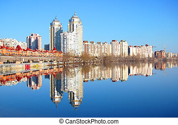 Kiev skyline and reflection on the river Dnipro
