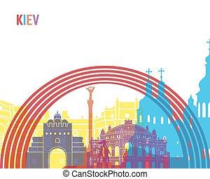 Kiev skyline pop in editable vector file