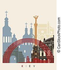 Kiev skyline poster in editable vector file