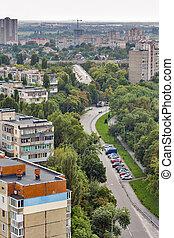 Kiev street in residential district, Ukraine.