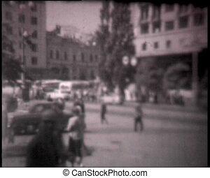 Kiev streets, vintage b&w 8mm footage