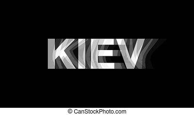 kiev, tv, texte, effet, déformation, glitch, animation, 4k, numérique, boucle