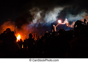 kiev, ucrania, -, enero, 24, 2014:, masa, anti-government,...