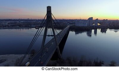 Kiev, Ukraine. Aerial view of Road bridge - Moscow Bridge over Dnieper river.