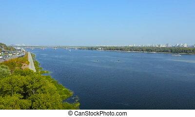 Kiev, Ukraine. Aerial view over Dnieper river. in Kyiv