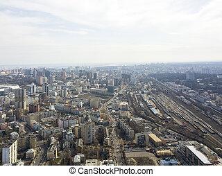 Kiev, Ukraine - April 7, 2018: aerial view Spring city ...