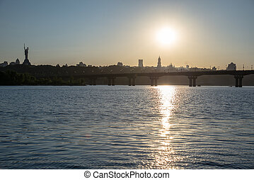 kiev., ukraine., dnepr., flod, quay.
