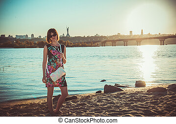 kiev., ukraine., dnepr., río, quay.