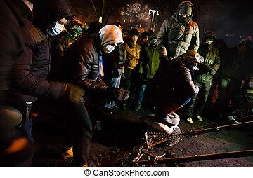 KIEV, UKRAINE - January 24, 2014: Mass anti-government...
