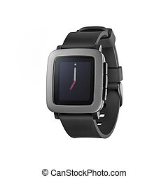 Kiev, Ukraine - June 22, 2015: Photo of new Pebble Time smartwatch isolated on white. Product shot