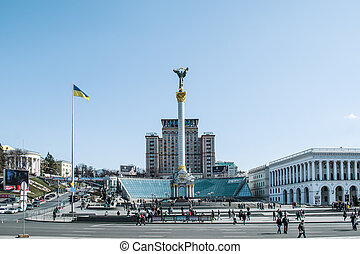 Independence square, the main square of Kiev, Ukraine (Maidan)