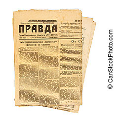 Vintage USSR newspaper Pravda - KIEV, UKRAINE - May 10, 2014...